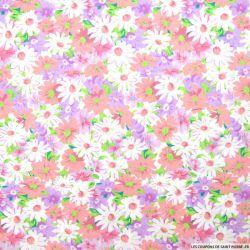 Coton imprimé fleurs roses, violet et blanc