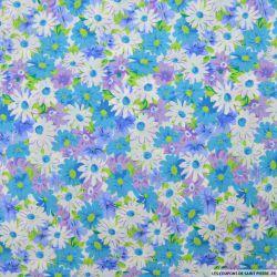 Coton imprimé fleurs bleu, violet et blanc