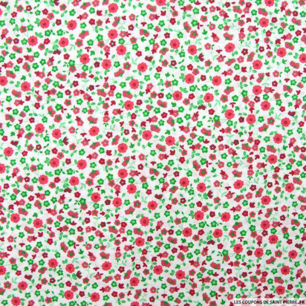 Coton imprimé fleurs rouge fond blanc cassé