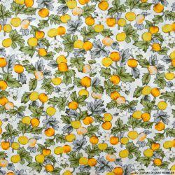 Coton imprimé pommes jaune