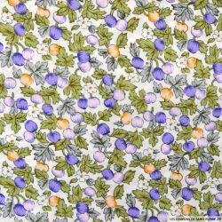 Coton imprimé pommes violet