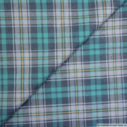 Coton chemise écossais vert et gris