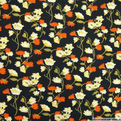Polycoton imprimé fleur orange et branche d'or