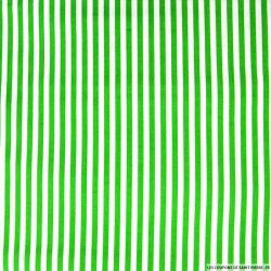 Coton imprimé rayé 0,5 mm vert et blanc cassé