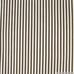 Coton imprimé rayé 0,5 mm marron et blanc cassé