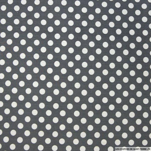 Coton imprimé pois 1cm blanc fond gris