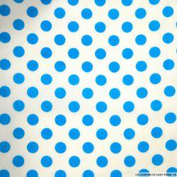 Coton imprimé pois 1cm turquoise fond blanc cassé