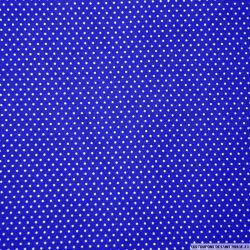 Coton imprimé pois ∅ 1mm blanc fond bleu roy