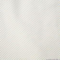 Coton imprimé petits pois beige fond blanc cassé