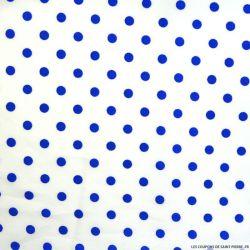 Coton imprimé pois 7 mm bleu fond blanc cassé