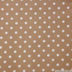 Coton imprimé pois 7 mm blanc fond taupe