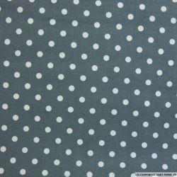 Coton imprimé pois 7 mm blanc fond gris