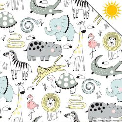 Jersey de coton couleur magique animaux vendu au mètre