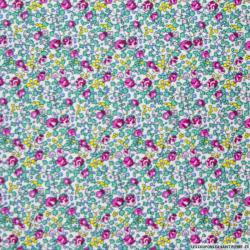 Coton imprimé petites fleurs roses fond blanc cassé