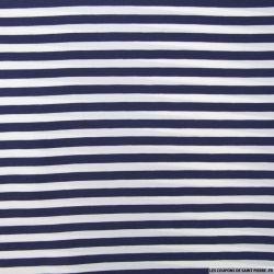Tissu microfibre imprimé rayures bleu nuit et blanches