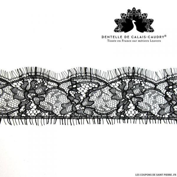 Ruban de Dentelle de calais® noir fine un côté feston au mètre