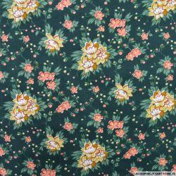Polycoton imprimé fleurs fond vert