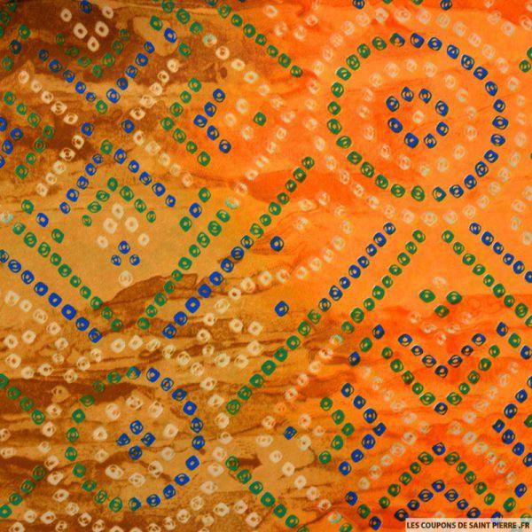Crêpe de chine tie and dye  orange et camel
