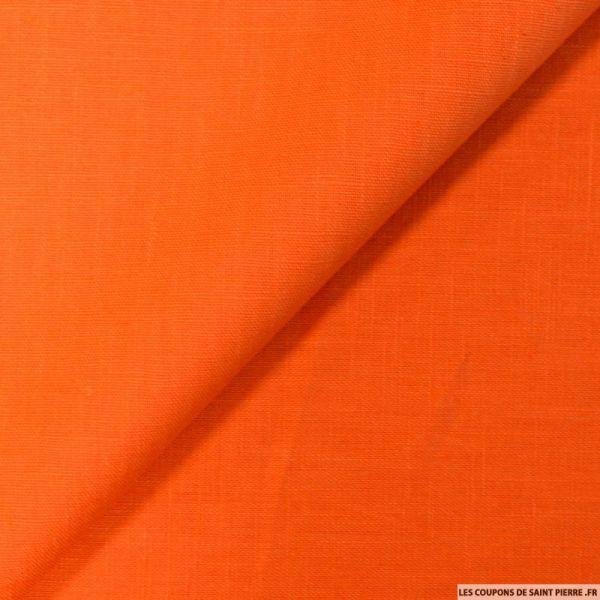 Tissu 100% Lin de couleur Orange