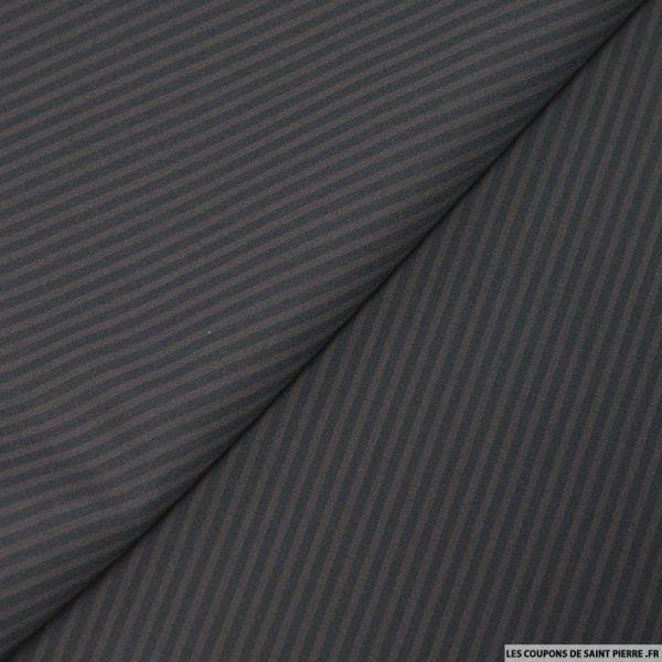Tissu tailleur rayé marron et noir