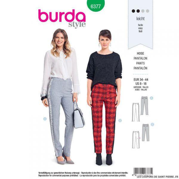 Patron burda n°6377: Pantalon ajusté à bandes latérales
