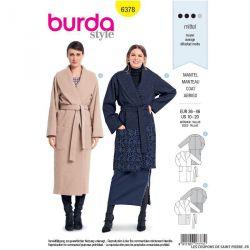 Patron burda n°6378 : Manteau enveloppant à col châle