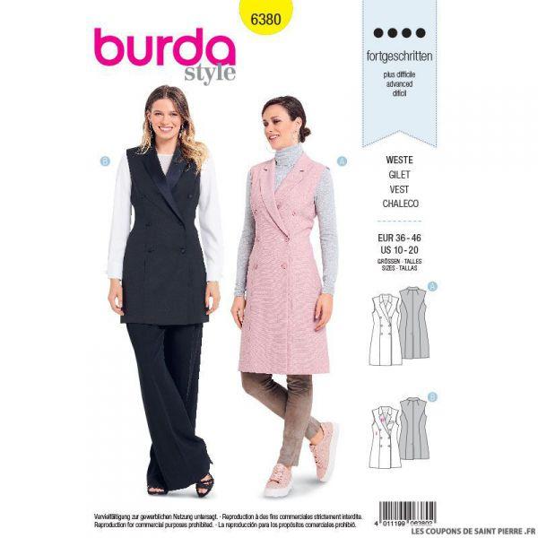 Patron burda n°6380 : Gilet à revers avec deux rangs de boutons