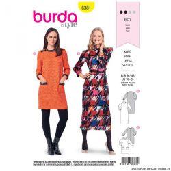 Patron burda n°6381 : Robe rétro des années 80, robe droite avec galon