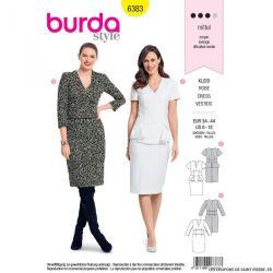 Patron burda n°6383 : Robe avec un parement de taille et une basque