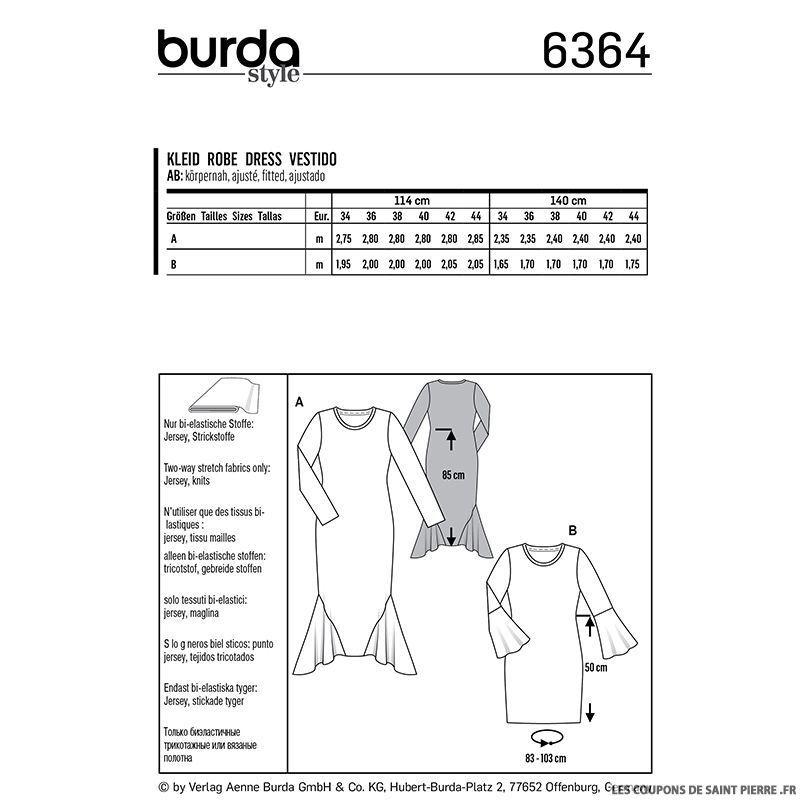 Patron burda n°6364: Robe