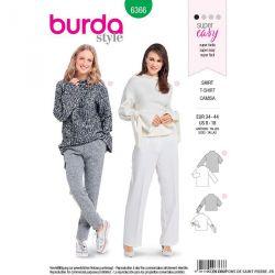 Patron burda n°6366: T-shirt avec un col droit intégré