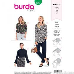 Patron burda n°6367: T-shirt avec des manches originales, un col roulé ou un ruché d'ourlet