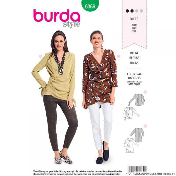 Patron burda n°6369: Blouse croisée avec des plis
