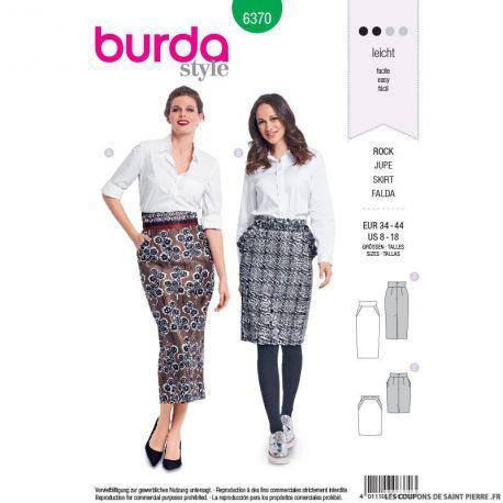 patron burda n 6370 jupe crayon avec des poches l 39 italienne. Black Bedroom Furniture Sets. Home Design Ideas