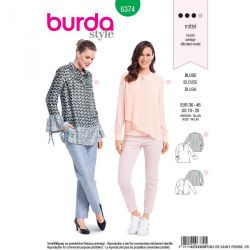 Patron burda n°6374: Blouse avec un parement polo