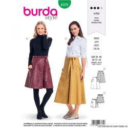 Patron burda n°6375: Jupe portefeuille à piqûres décoratives