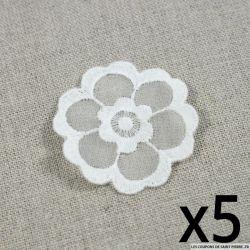 X5 Fleurs brodées blanches à coudre