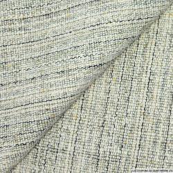Bourrette de soie rayée noir,vert et beige