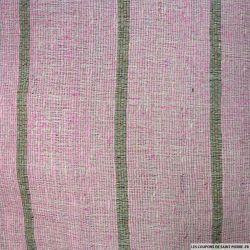 Bourrette de soie rose rayée taupe