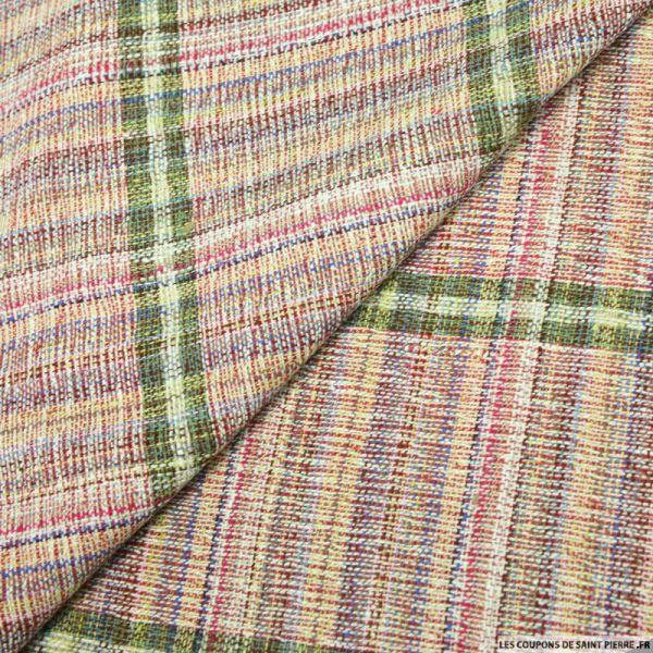Bourrette de soie multicolore rayée vert