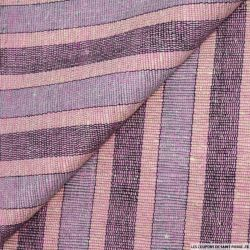 Bourrette de soie multicolore rayée rose et violet