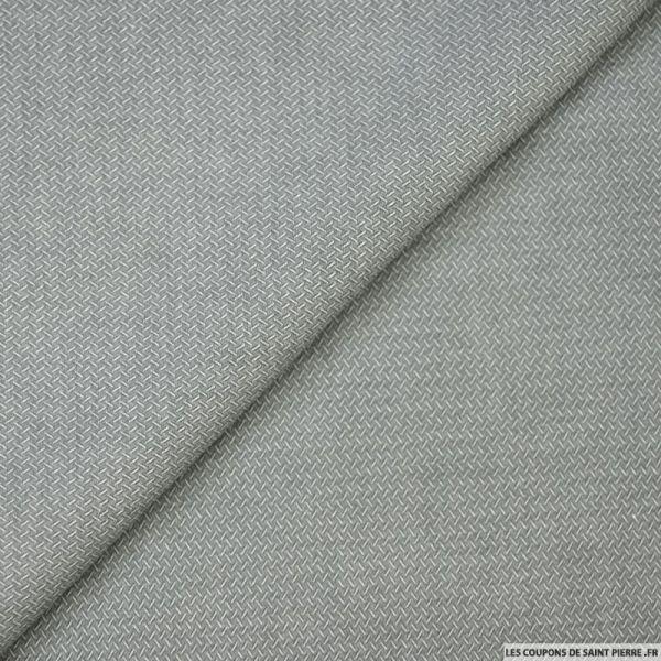 Polycoton chemise gris motif fantaisie