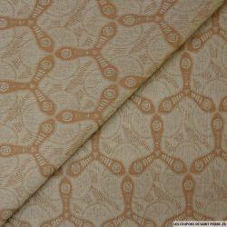 Jacquard de coton élasthane marron motif spiner