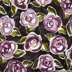 Crêpe georgette imprimée fleurs violet fond marron