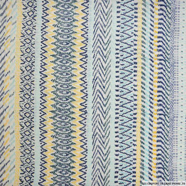 Microfibre imprimé frise ethnique bleu et jaune