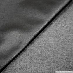 Simili cuir noir contrecollé jersey gris