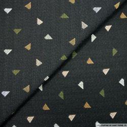 Jacquard Polyviscose triangles fond noir