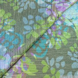 Jacquard Polyviscose fleurs irisé vert et bleu
