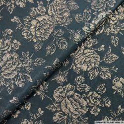 Jacquard Polyester fleurs marron fond noir