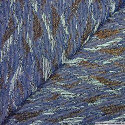 Jacquard Polyviscose montagne bleu et irisé